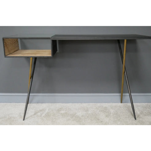 Hoxton Industrial Vintage Distressed Metal Computer Desk (125 x 43 x 78cm)