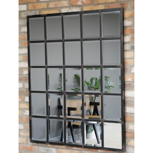 Hoxton Industrial Vintage Distressed Metal Wall Mirror ( 110 x 4 x 135cm)
