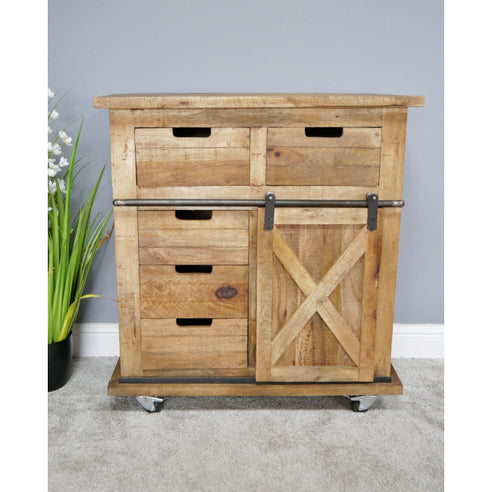 Hoxton Metal and Wood Industrial Small Sideboard (81 x 40 x 88cm)