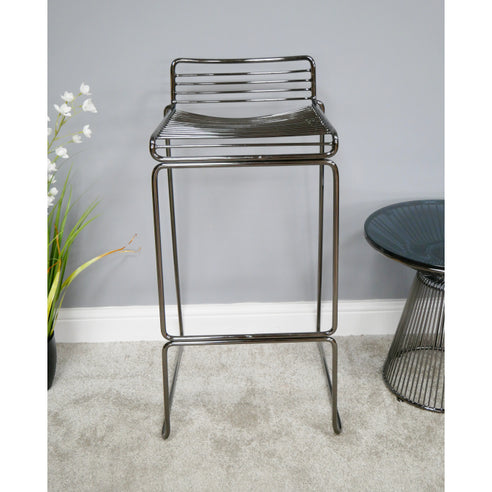 Electra Retro Steel Bar Stool Set of 4 - Chromed Black (40 x 47 x 85cm)