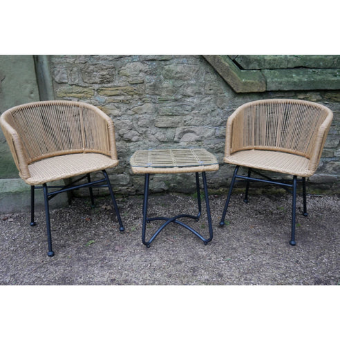Hoxton Rattan Industrial Retro Garden Chair and Table Set - CLEARANCE SECONDS