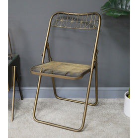 Antique Gold Art Deco Metal Folding Chair Set of 2 (46 x 53 x 80cm