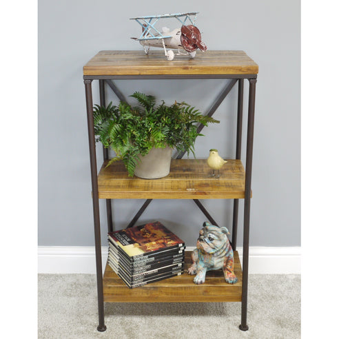 Hoxton Metal and Wood Industrial Style Shelved Unit (50 x 37 x 89cm)