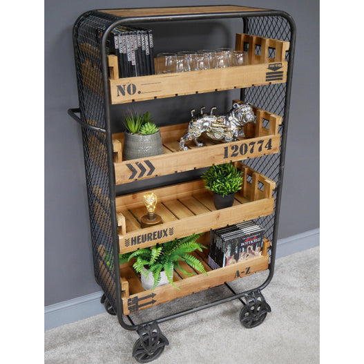 Retro Industrial Wood Bakery Style Wheeled Shelved Unit (80 x 40 x 138cm)