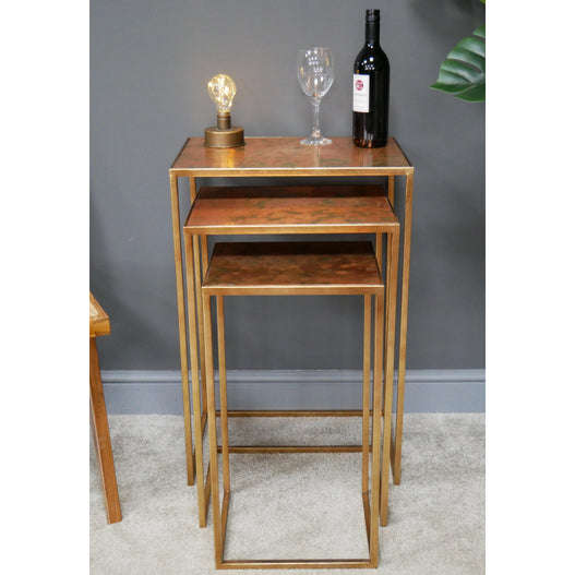 Copper Finish Distressed Nest of Side Tables