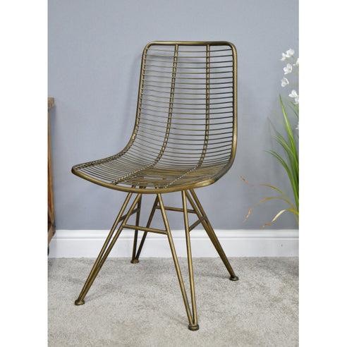 Hoxton Metal Industrial Retro 'Open Wirework' Style Chair - Old Gold - Set of 6