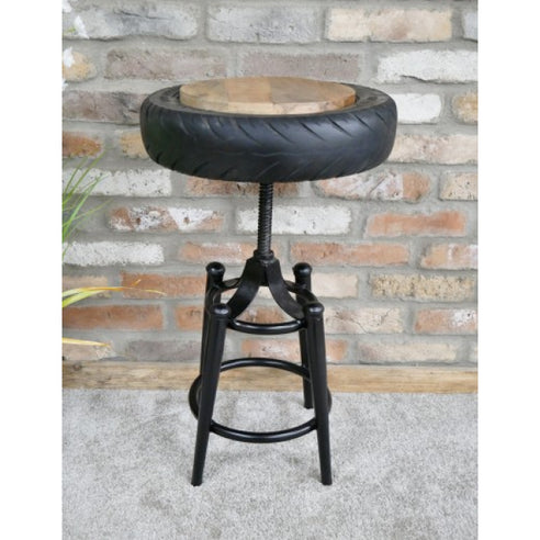 Retro Industrial Reclaimed Tyre Stool (41 x 41 x max 72cm)