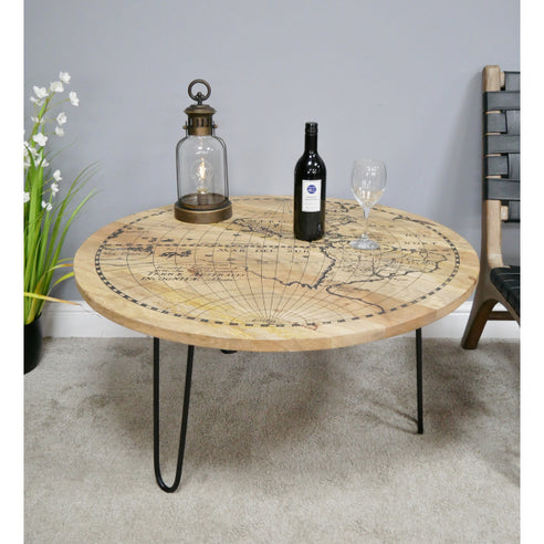 Hoxton Industrial Mango Wood Map Coffee Table