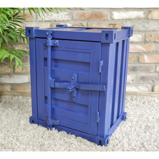 Retro Industrial Metal Blue Container Side Table ( 46 x 35 x 55cm)- clearance