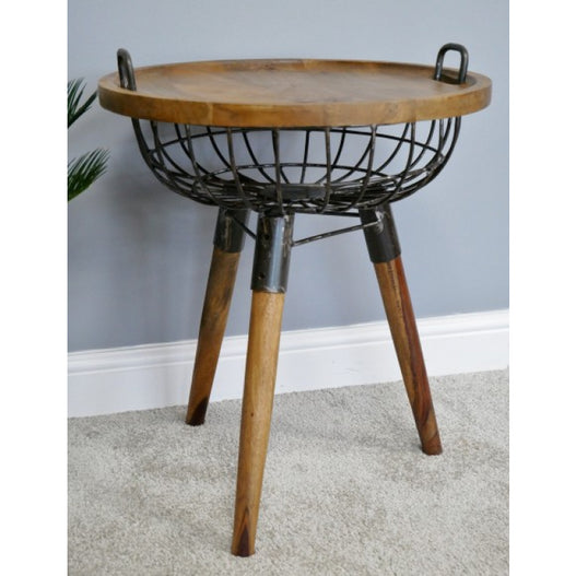 Hoxton Metal and Wood Industrial Basket Side Table (53 x 53 x 65cm)
