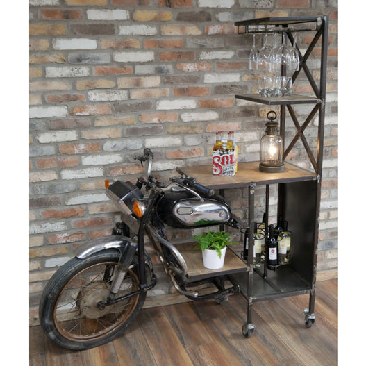Retro Industrial Reclaimed Motorbike Drinks Bar (155 x 65 x 180cm)