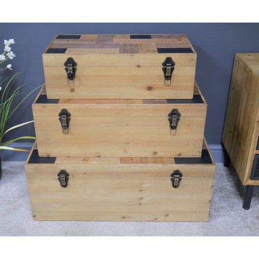 Brixton Metal and Wood Industrial Set of Trunks
