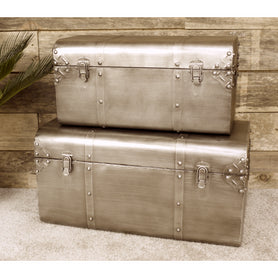 Retro Industrial Metal Trunk Set - SECONDS LAST ONE CLEARANCE