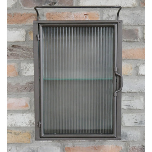 Hoxton Metal Industrial Retro Reeded Glass Wall Cabinet (35 x 14 x 54cm)