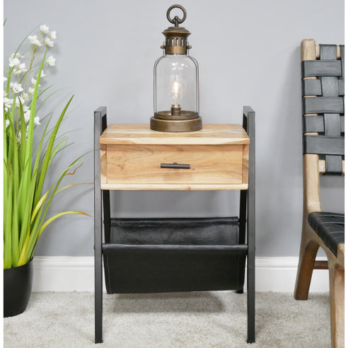Hoxton Industrial Acacia and Charcoal Leather Lazy Side Table