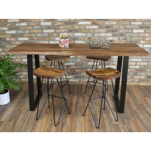 Hoxton Living Edge Sheesham Wood Breakfast Bar and 4 Stools (200 x 70 x 101cm)