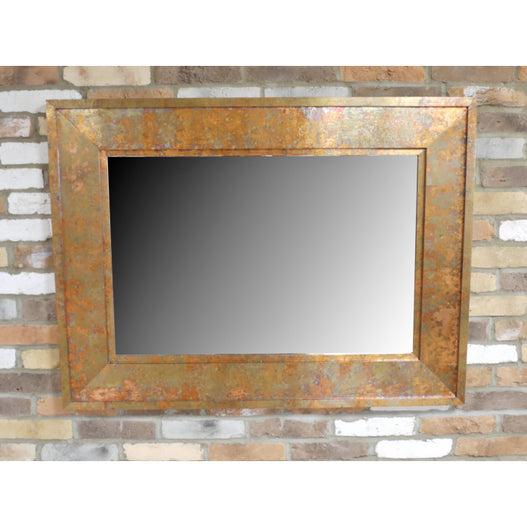 Copper Finish Distressed Patinated Wall Mirror (122 x 91cm)