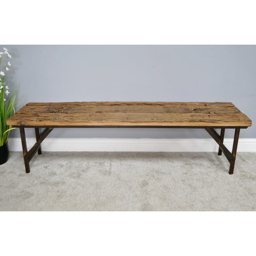 Hoxton Metal and Wood Industrial Rustic Folding Bench (160 x 41 x 44cm)