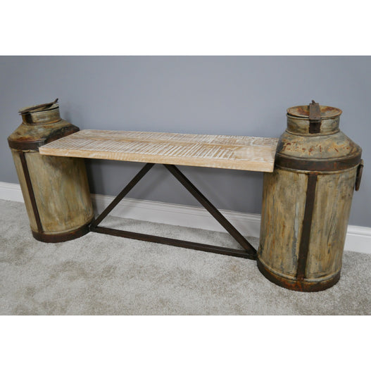 Retro Industrial Reclaimed Churn Bench (150 x 33 x 64cm)