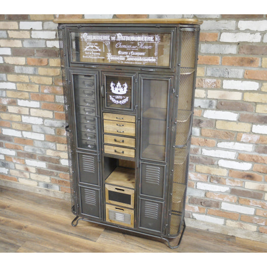 Brixton Metal and Wood Industrial Display Cabinet (97 x 32 x 166cm)