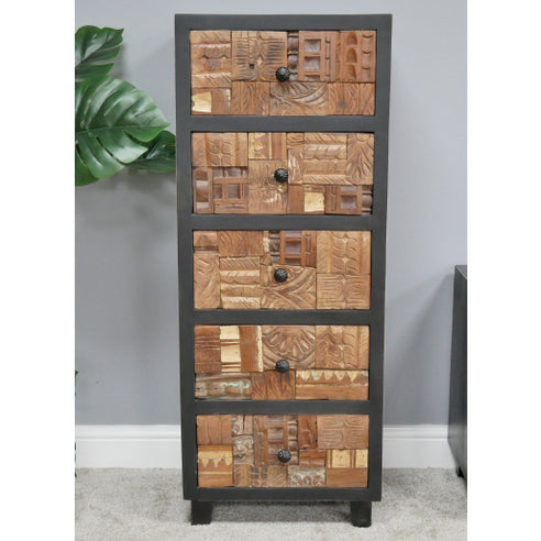 Fusion Wood Block Tallboy Chest of Drawers (45 x 39 x 116cm)