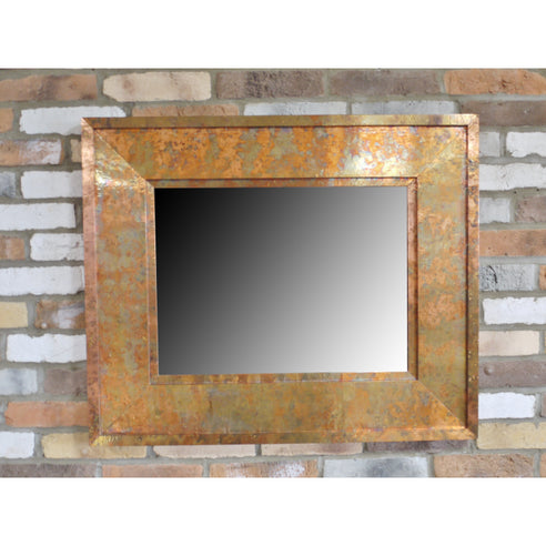 Copper Finish Distressed Patinated Wall Mirror (91 x 76cm)