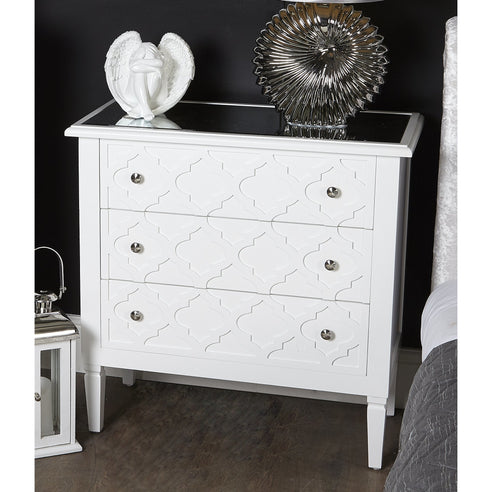 Tangier White Wood 3 Drawer Chest (83.5 x 40 x 83cm)