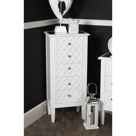 Tangier White Wood 5 Drawer Tallboy Chest (48 x 34 x 107cm)