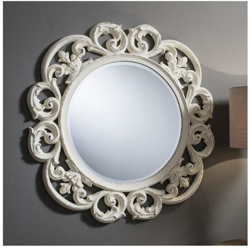 Vintage white french rococo large round mirror - Chartwell