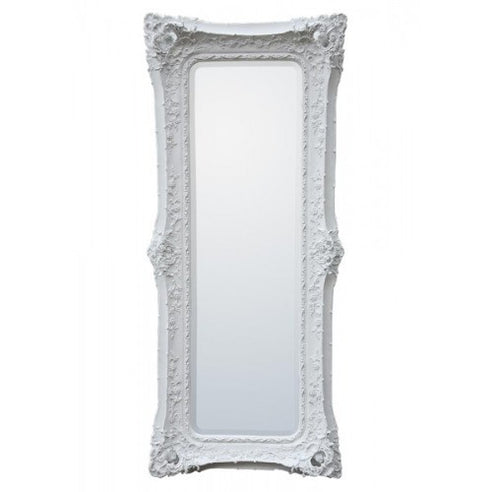 White extra large french swept floor mirror