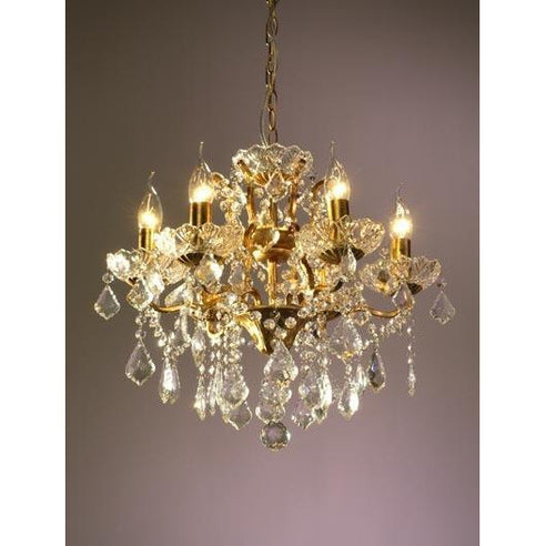 Shabby chic laura gold chandelier 6 arm