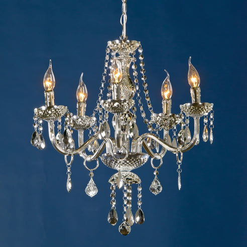 Silver French Vintage Acrylic Chandelier - 5 Arms (Ceiling Light)