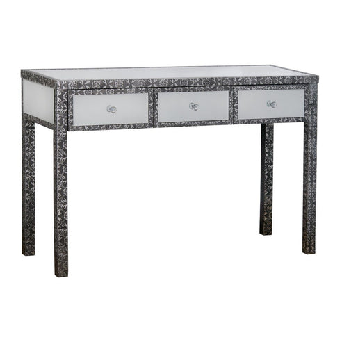 Blackened silver metal mirrored large console table