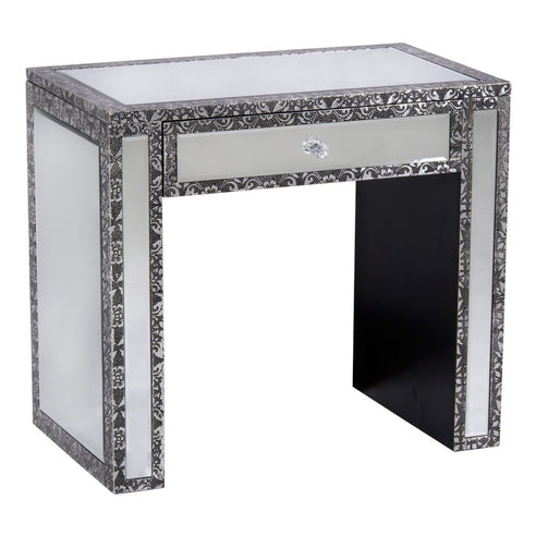 Blackened Silver Embossed Mirrored Side Table (68 x 40 x 60.5cm)