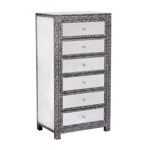 Blackened Silver Embossed Mirrored Tallboy Large Chest of 6 Drawers (46x40x115cm)