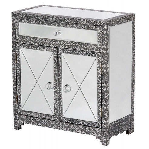Blackened Silver Embossed Mirrored Sideboard - Small (61 x 30 x 67cm)