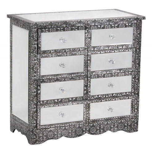 Blackened Silver Embossed Mirrored Chest of 8 Drawers (78 x 38 x 75cm)