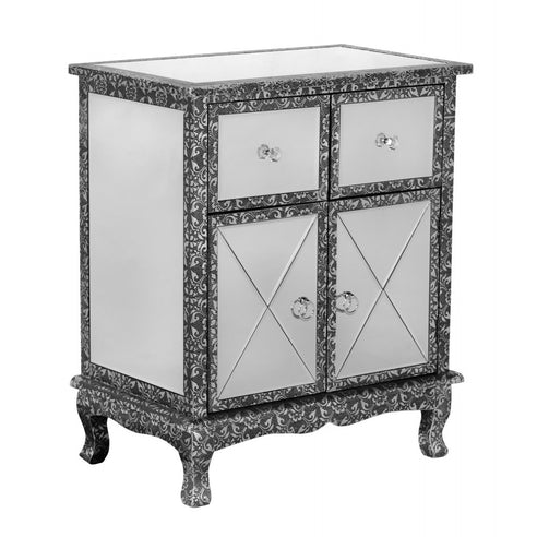 Blackened Silver Embossed Mirrored Small Sideboard (65 x 40 x 77cm)