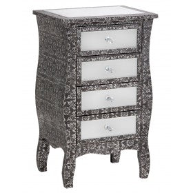 Blackened Silver Embossed Mirrored Bedside Cabinet (47.5 x 32 x 77cm)