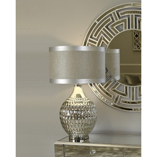 Chrome Glass Dimple Table Lamp With Grey Shade