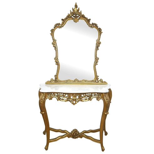 Antique Gold Framed Console Table with White Marble Top and Mirror (211 x 114 x 48cm)