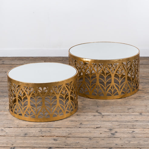 Gin Shu Gold Parisienne Metal Round Coffee Table set of two (74 x 74 x 40cm)