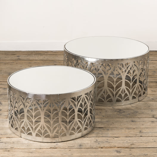 Gin Shu Silver Parisienne Metal Round Coffee Table set of two (74 x 74 x 40cm)