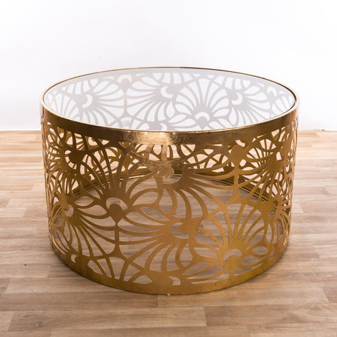 Gin Shu Gold Parisienne Metal Round Coffee Table (81 x 81 x 46cm)