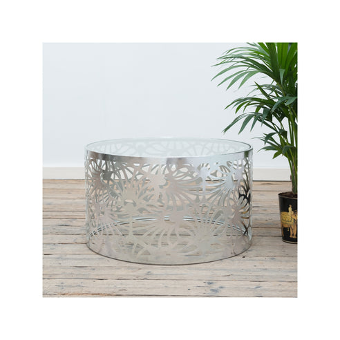 Gin Shu Silver Parisienne Metal Round Coffee Table (81 x 81 x 46cm)