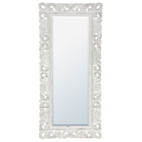 Antique white baroque french floor standing mirror