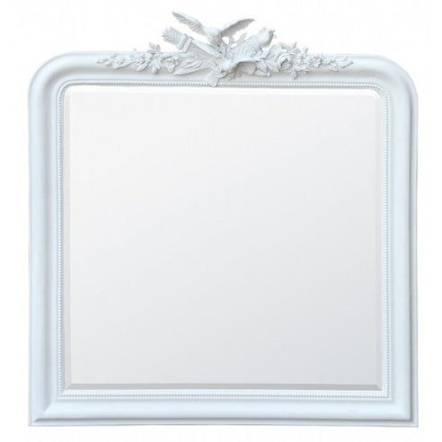 White overmantle mirror with birds