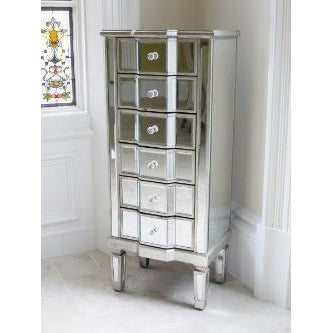 Venetian Glass Vintage Glam Mirrored Narrow Tallboy Chest (6 Drawer, 48 x 36 x 115cm)