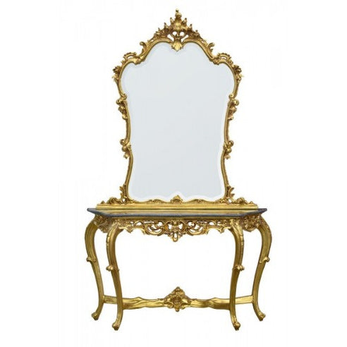 Gold Framed Mirror and Console Table with Black Marble Top