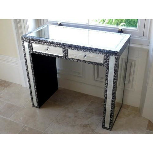 Blackened silver embossed metal mirrored console table